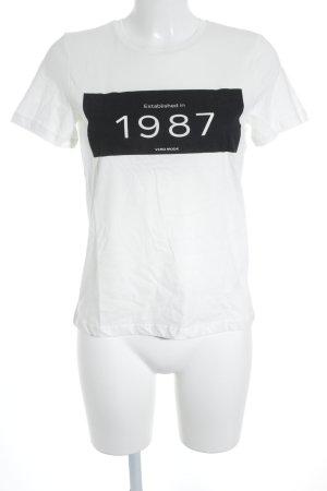 Vero Moda T-Shirt wollweiß-schwarz Schriftzug gedruckt Casual-Look