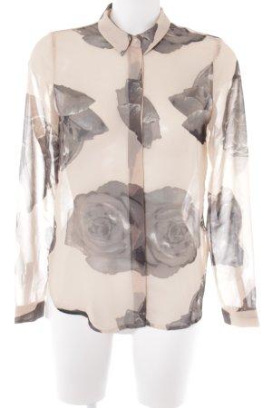 Vero Moda Transparenz-Bluse altrosa-dunkelgrau florales Muster Casual-Look