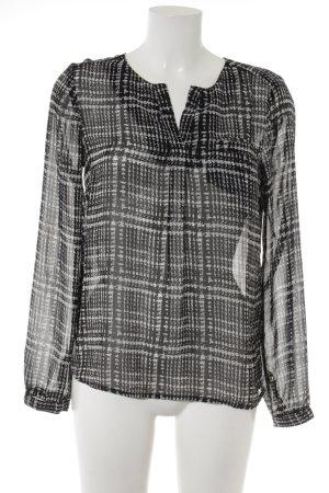 Vero Moda Transparenz-Bluse schwarz-hellgrau abstraktes Muster Casual-Look