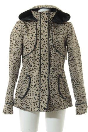 Vero Moda Übergangsjacke schwarz-beige Leomuster Casual-Look
