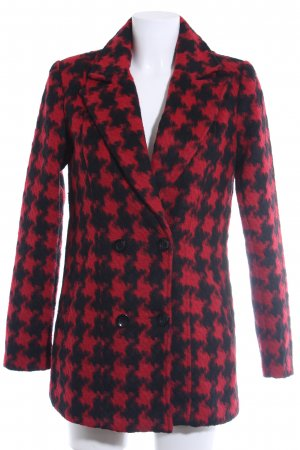 Vero Moda Between-Seasons-Coat black-dark red houndstooth pattern casual look