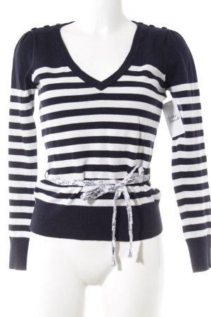 Vero Moda V-Ausschnitt-Pullover dunkelblau-weiß Streifenmuster Casual-Look