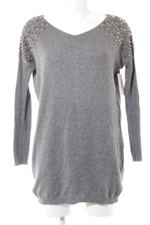 Vero Moda V-Ausschnitt-Pullover grau meliert Casual-Look