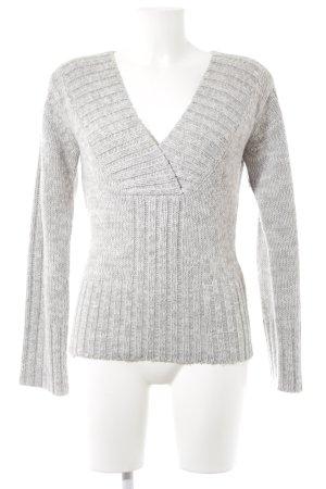 Vero Moda V-Ausschnitt-Pullover hellgrau-weiß meliert Casual-Look