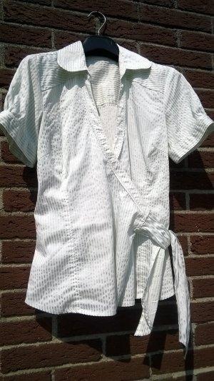 Vero Moda Blusa cruzada blanco puro-verde grisáceo Algodón