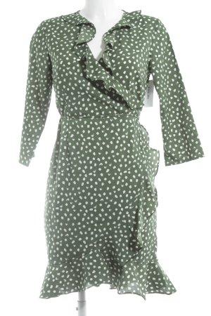 Vero Moda Wickelkleid grün-weiß Punktemuster Casual-Look