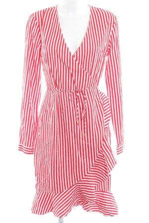 Vero Moda Vestido cruzado rojo-blanco estampado a rayas Apariencia de ovillo