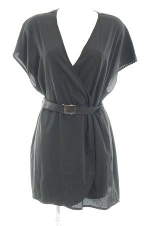 Vero Moda Vestido cruzado negro-color plata look casual