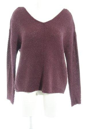 Vero Moda Wollpullover braunviolett-schwarz Casual-Look