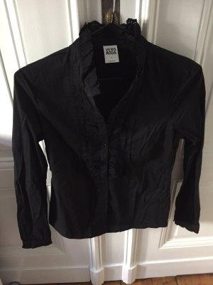 VeroModa-Bluse mit Spitzen-Stehkragen in schwarz