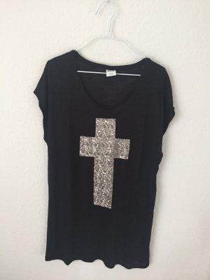 Veromoda Longshirt mit Pailetten Kreuz
