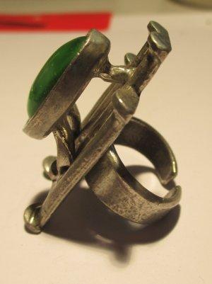 Statement ring zilver-bos Groen Metaal