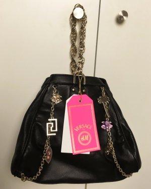 * VERSAC for H&M *  NEU ! kleine Tasche  Lederschwarz Ketten Details gold