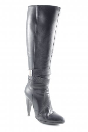 Versace Stivale con tacco nero-argento stile classico