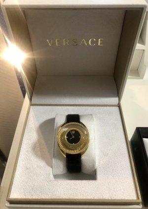 Versace Montre avec bracelet en cuir doré-noir