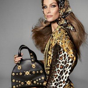 Versace Barock Seidentuch Scarf Tuch schwarz gold 90 x 90 cm wie neu Seide Original