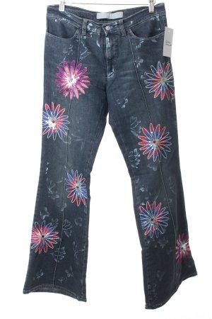 Versace Boot Cut Jeans Blumenmuster Street-Fashion-Look