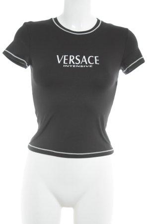 Versace Collection Cropped Shirt schwarz-weiß Street-Fashion-Look