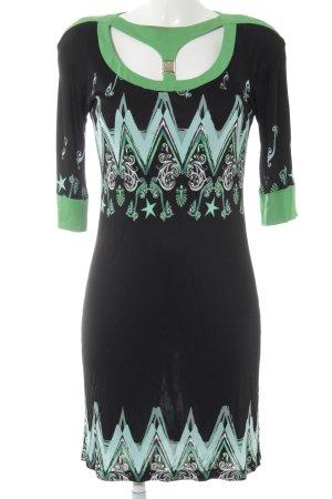 Versace Collection Langarmkleid schwarz-grün abstraktes Muster