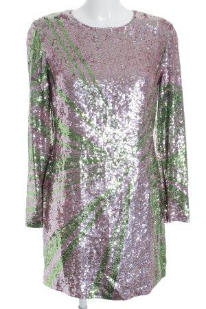 Versace Collection Pailettenkleid blasslila-grasgrün Streifenmuster