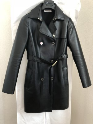 Versace Collection Trench Coat Pelle Donna schwarz