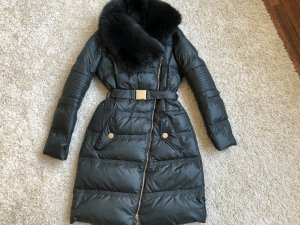 Versace Down Coat black-dark green
