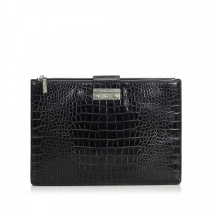 Versace Embossed Leather Clutch