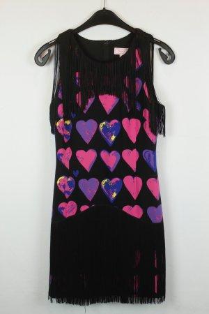 Versace for H&M Kleid Seidenkleid Gr. 34 schwarz lila pink Herzen Fransen