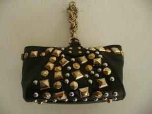 Versace for H&M kleine Leder Tasche Bag Schwarz mit Nieten Silber + Gold