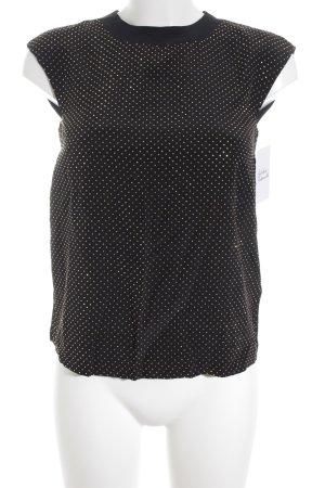 Versace for H&M Kurzarm-Bluse schwarz-goldfarben Punktemuster Glitzer-Optik