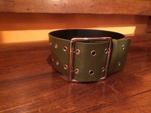 VERSUS Versace Cinturón de cuero gris verdoso