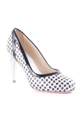 Versace High Heels hellbeige-schwarz Punktemuster Elegant