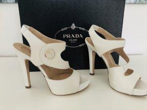 Versace Sandalo alto con plateau bianco sporco Pelle