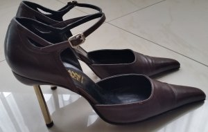 Gianni Versace High Heels dark brown leather