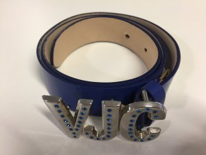 Versace Jeans Leather Belt blue-silver-colored leather