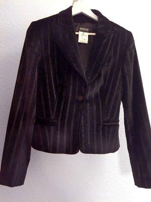 Versace Jeans Couture Blazer - in Schwarzem, Gestreiften Samt