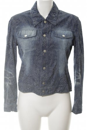 Versace Jeans Couture Jeansjacke blau abstraktes Muster Casual-Look