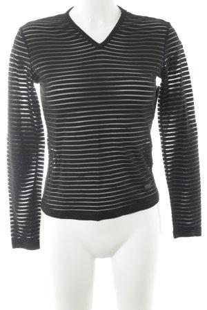 Versace Jeans Couture V-Ausschnitt-Pullover schwarz Streifenmuster