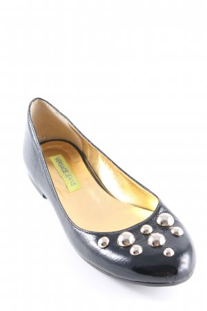 Versace Jeans Patent Leather Ballerinas black-gold-colored business style