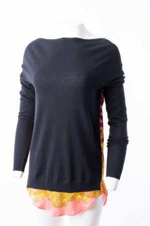 VERSACE JEANS - Oversized-Pullover mit bunt gemustertem Bluseneinsatz Schwarz