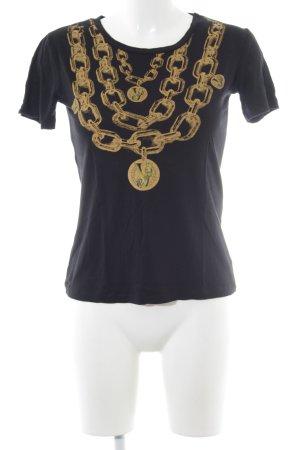 Versace Jeans T-Shirt schwarz-goldorange Motivdruck Casual-Look