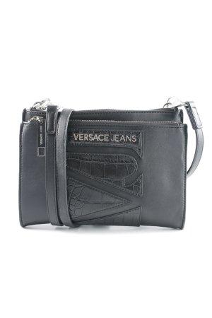Versace Jeans Umhängetasche schwarz-silberfarben abstraktes Muster Elegant