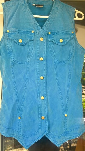 Versace Jeans Denim Vest neon blue cotton