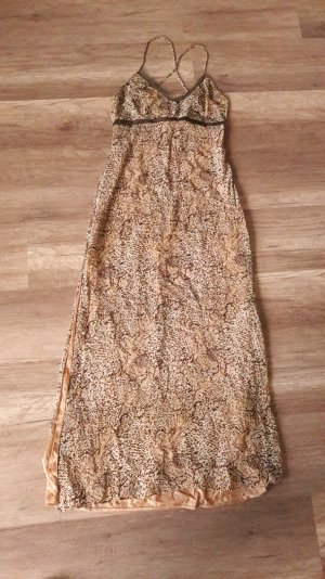 Versace Kleid Maxikleid Seide Muster Nude Terracotta Khaki Empire Babydoll