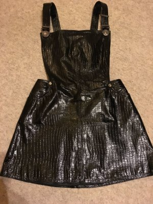 Gianni Versace Pinafore Overall Skirt black leather