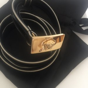 Versace Leather Belt black-gold-colored