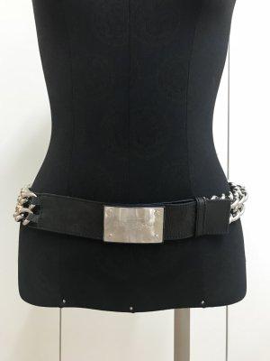 Versace Lackleder-Kettengürtel Dunkelblau/Silber