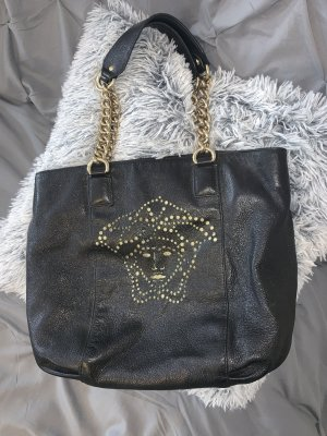 Versace Carry Bag black-gold-colored leather