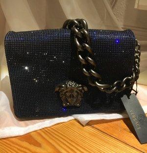 Gianni Versace Handbag dark blue-silver-colored leather