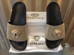Versace Sabots black-bronze-colored polyurethane